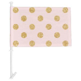 Elegant Pink And Gold Glitter Polka Dots Pattern Car Flag