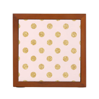 Elegant Pink And Gold Glitter Polka Dots Pattern Desk Organiser