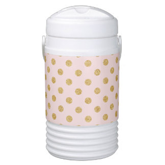 Elegant Pink And Gold Glitter Polka Dots Pattern Drinks Cooler