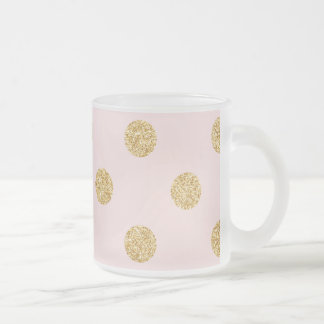 Elegant Pink And Gold Glitter Polka Dots Pattern Frosted Glass Coffee Mug