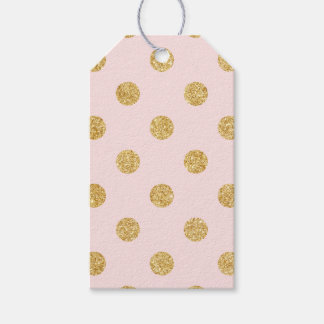 Elegant Pink And Gold Glitter Polka Dots Pattern Gift Tags