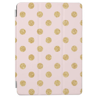 Elegant Pink And Gold Glitter Polka Dots Pattern iPad Air Cover