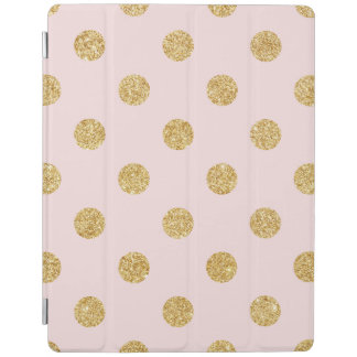 Elegant Pink And Gold Glitter Polka Dots Pattern iPad Cover