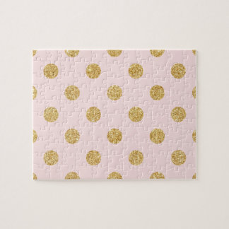 Elegant Pink And Gold Glitter Polka Dots Pattern Jigsaw Puzzle