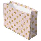 Elegant Pink And Gold Glitter Polka Dots Pattern Large Gift Bag