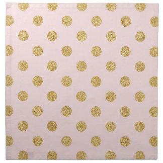 Elegant Pink And Gold Glitter Polka Dots Pattern Napkin
