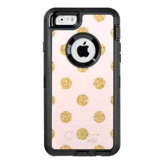 Elegant Pink And Gold Glitter Polka Dots Pattern OtterBox Defender iPhone Case