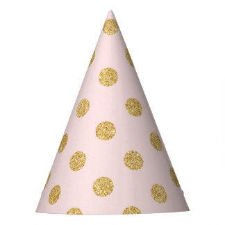 Elegant Pink And Gold Glitter Polka Dots Pattern Party Hat