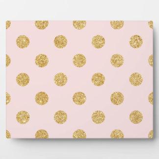Elegant Pink And Gold Glitter Polka Dots Pattern Plaque