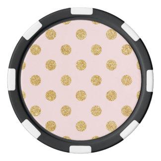Elegant Pink And Gold Glitter Polka Dots Pattern Poker Chips