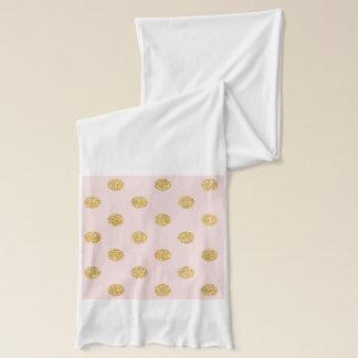 Elegant Pink And Gold Glitter Polka Dots Pattern Scarf