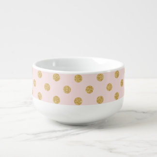 Elegant Pink And Gold Glitter Polka Dots Pattern Soup Mug
