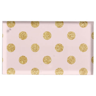 Elegant Pink And Gold Glitter Polka Dots Pattern Table Card Holders