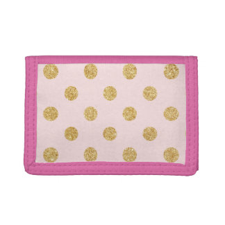 Elegant Pink And Gold Glitter Polka Dots Pattern Trifold Wallet