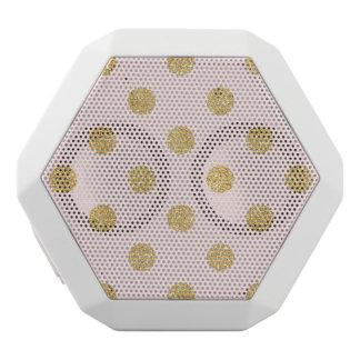 Elegant Pink And Gold Glitter Polka Dots Pattern White Bluetooth Speaker