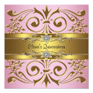 Elegant Pink and Gold Quinceanera Personalized Invitations