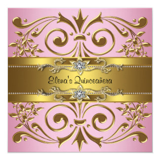 "Elegant Pink and Gold Quinceanera 5.25"" Square Invitation Card"