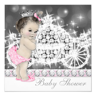 Elegant Pink and Gray Princess Baby Shower 13 Cm X 13 Cm Square Invitation Card