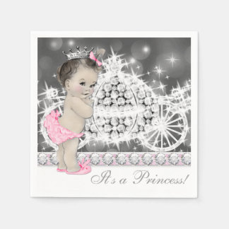 Elegant Pink and Gray Princess Baby Shower Disposable Napkin