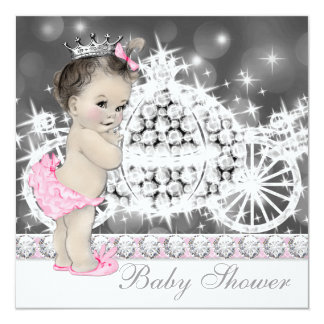 Elegant Pink and Gray Princess Baby Shower Custom Invitation