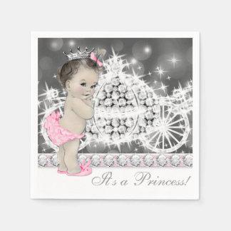 Elegant Pink and Gray Princess Baby Shower Paper Napkins