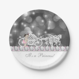 Elegant Pink and Gray Princess Baby Shower Paper Plate