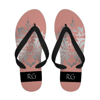 Elegant Pink and Grey Damask Monogrammed Flip Flops