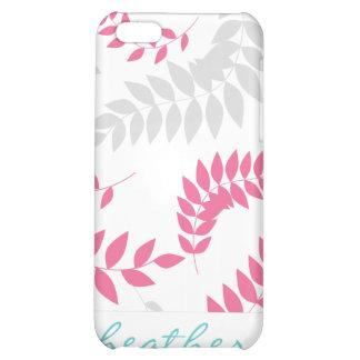 Elegant Pink and Grey Fern Foliage iPhone 5C Cases