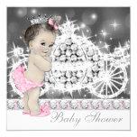 Elegant Pink and Grey Princess Baby Shower Custom Invitations