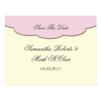 Elegant Pink and Ivory Save The Date Postcard