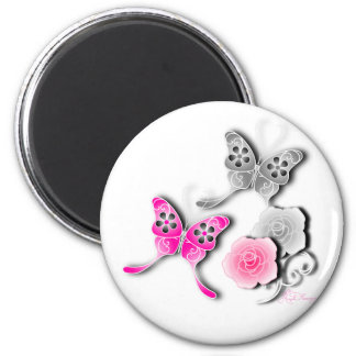 Elegant Pink And Silver Butterflies And Roses 6 Cm Round Magnet