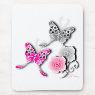 Elegant Pink And Silver Butterflies And Roses Mouse Pad