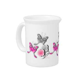 Elegant Pink And Silver Butterflies And Roses Pitchers