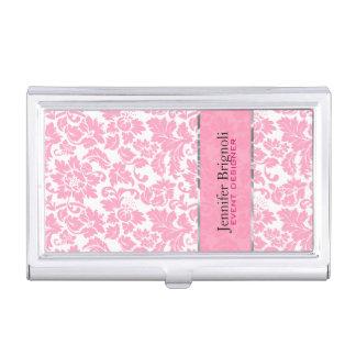 Elegant Pink And White Floral Damasks Pattern Business Card Cases