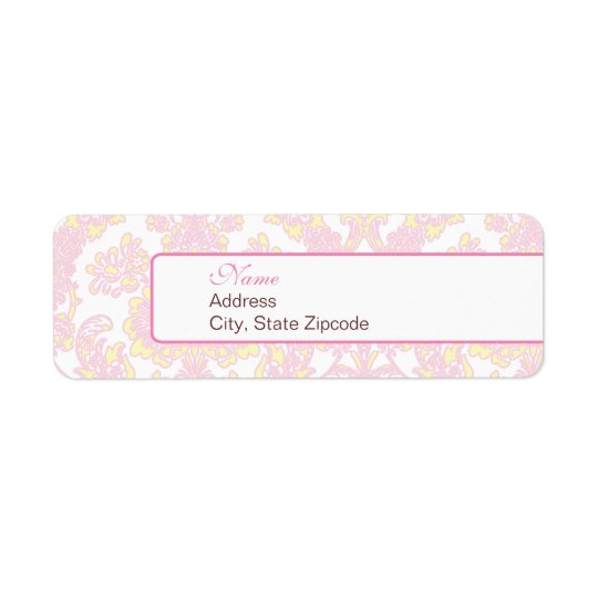 Elegant Pink and Yellow Damask Address Label