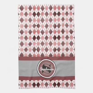 Elegant Pink Argyle w/Name Golf or Hand Towel