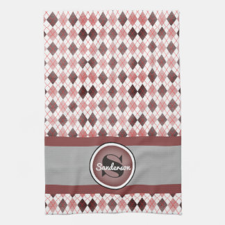 Elegant Pink Argyle w/Name Golf or Tea Towel