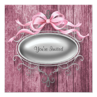 "Elegant Pink Barn Wood Party Invitation Template 5.25"" Square Invitation Card"