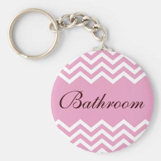 Elegant pink bathroom keychain with zigzag pattern