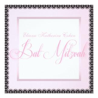 Elegant Pink Black Bat Mitzvah Invitations