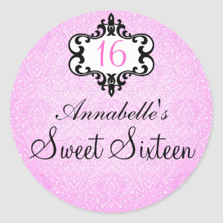 Elegant Pink & Black Chic Damask Sweet 16 Sticker