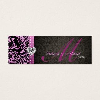 Elegant Pink & Black Damask Favor Tags