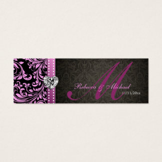 Elegant Pink & Black Damask Favor Tags Mini Business Card