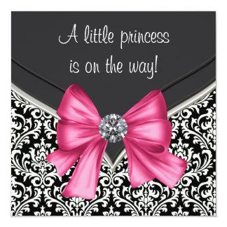 Elegant Pink Black Damask Princess Baby Shower Card