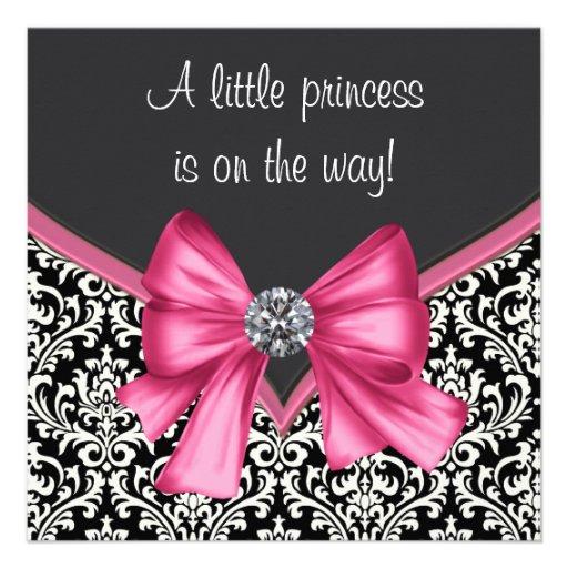 Elegant Pink Black Damask Princess Baby Shower Custom Announcements