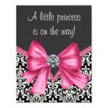 Elegant Pink Black Damask Princess Baby Shower Personalized Invitation