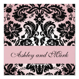 Elegant Pink Black Damask Wedding Invitation #2