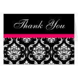 Elegant Pink Black Damask Wedding Thank You Notes Greeting Card