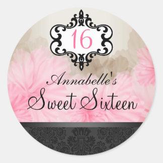 Elegant Pink & Black Floral Chic Sweet 16 Sticker