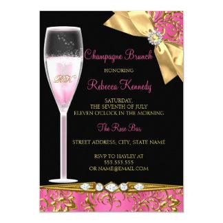 Elegant Pink Black Gold Damask Champagne Brunch 13 Cm X 18 Cm Invitation Card